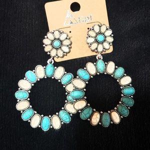 Blue and white howlite squash blossom earrings